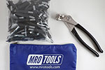 K1S50-5/32 Set of 50 5/32 Standard Plier Operated Cleco Fasteners + Cleco Pliers w/ Polyester Carry Bag
