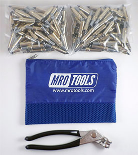 MRO TOOLS K1S450-3/16 Standard Plier Operated Cleco Fasteners 450 Piece Kit w/ Cleco Pliers & Carry Bag