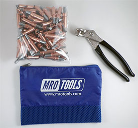 MRO TOOLS K1S100-1/8 Standard Plier Operated Cleco Fasteners 100 Piece Kit w/ Cleco Pliers & Carry Bag