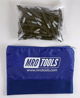 MRO TOOLS K2S100-5/32 Standard Plier Operated Cleco Fasteners 100 Piece Kit w/ Carry Bag