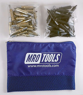 MRO TOOLS K3S50-4 Standard 25 3/16'' & 25 5/32'' Cleco Fasteners Kit w/ Carry Bag