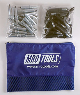 MRO TOOLS K3S50-6 Standard 25 5/32'' & 25 3/32'' Cleco Fasteners Kit w/ Carry Bag