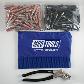 MRO TOOLS K4S100-2 Standard 50 1/8'' & 50 5/32'' Cleco Fasteners Kit w/ Carry Bag