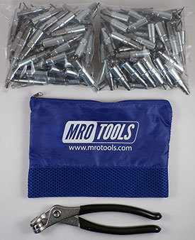 KHD1S200-3/32 Set of 200 3/32 Heavy Duty Plier Operated Cleco Fasteners + Cleco Pliers w/ Polyester Carry Bag