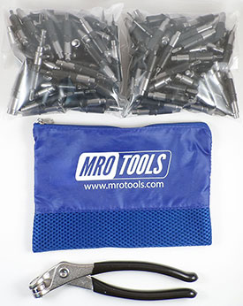 KHD1S350-5/32 Set of 350 5/32 Heavy Duty Plier Operated Cleco Fasteners + Cleco Pliers w/ Polyester Carry Bag