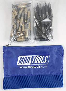 MRO TOOLS KHD3S50-4 Heavy Duty 25 3/16'' & 25 5/32'' Cleco Fasteners Kit w/ Carry Bag
