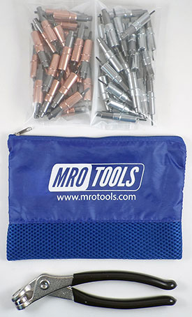 MRO TOOLS KHD4S50-3 Heavy Duty 25 1/8'' & 25 3/32'' Cleco Fasteners Kit w/ Carry Bag