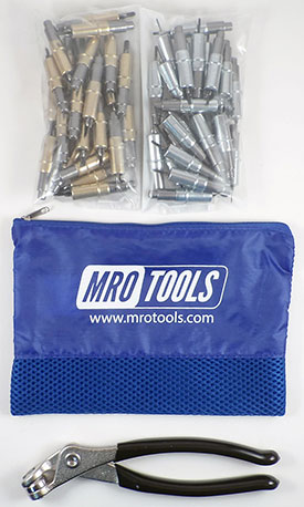 MRO TOOLS KHD4S50-5 Heavy Duty 25 3/16'' & 25 3/32'' Cleco Fasteners Kit w/ Carry Bag