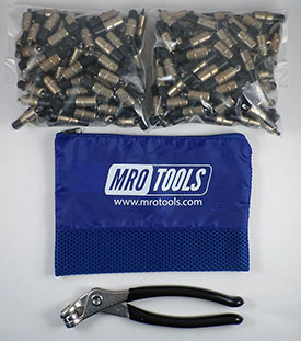 MRO TOOLS KK1S350-3/16 Extra Short Plier Operated Cleco Fasteners 350 Piece Kit w/ Cleco Pliers & Carry Bag