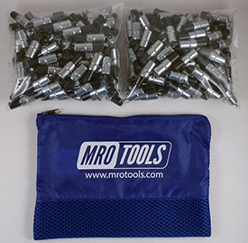 MRO TOOLS KK2S350-3/32 Extra Short Plier Operated Cleco Fasteners 350 Piece Kit w/ Carry Bag