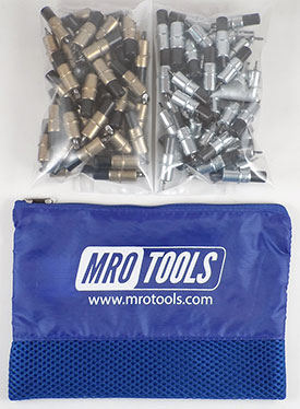 MRO TOOLS KK3S100-5 Extra Short 50 3/16'' & 50 3/32'' Cleco Fasteners Kit w/ Carry Bag