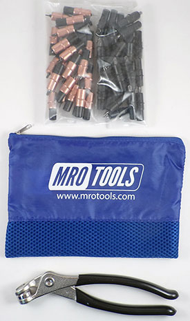 MRO TOOLS KK4S50-2 Extra Short 25 1/8'' & 25 5/32'' Cleco Fasteners Kit w/ Carry Bag