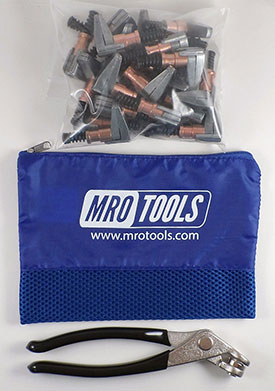 MRO TOOLS KSG2S25P Cleco Side-Grip Clamps 25 Piece Kit w/ Cleco Pliers & Carry Bag, 1/2 x 1
