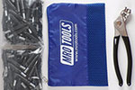 K1S150-5/32 Cleco Kit of 150 5/32 Standard Plier Operated Cleco Fasteners + Cleco Pliers w/ Polyester Carry Bag