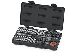 80301 GearWrench 1/4'' Drive 12 Point SAE/Metric Standard and Deep Mechanics Tool 51 Piece Set