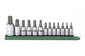 80725 GearWrench 1/4'', 3/8'' and 1/2'' Drive Torx Tamper Proof Bit Socket 13 Piece Set