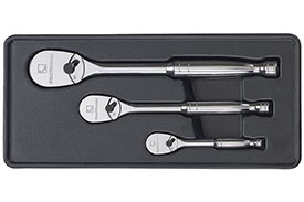 81206F GearWrench 1/4'', 3/8'' and 1/2'' Drive Full Polish Teardrop Ratchet 3 Piece Set