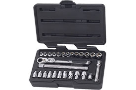 891427 GearWrench 1/4'' Drive 6 Point SAE/Metric Pass-Thru with Locking Flex GearRatchet 27 Piece Mechanics Tool Set