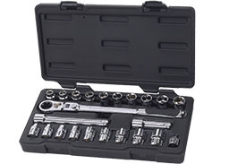 893823 GearWrench 3/8'' Drive 6 Point SAE/Metric Pass-Thru with Locking Flex GearRatchet 23 Piece Mechanics Tool Set