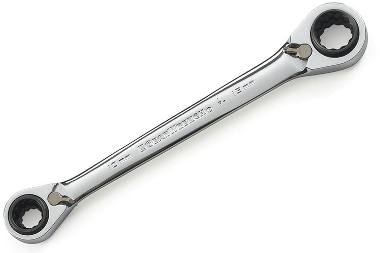 Two Combination Wrenches 13mm /& 14mm GearWrench Ratcheting Box End One Pair New